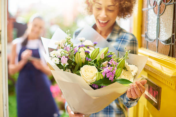 flower delivery stock photo