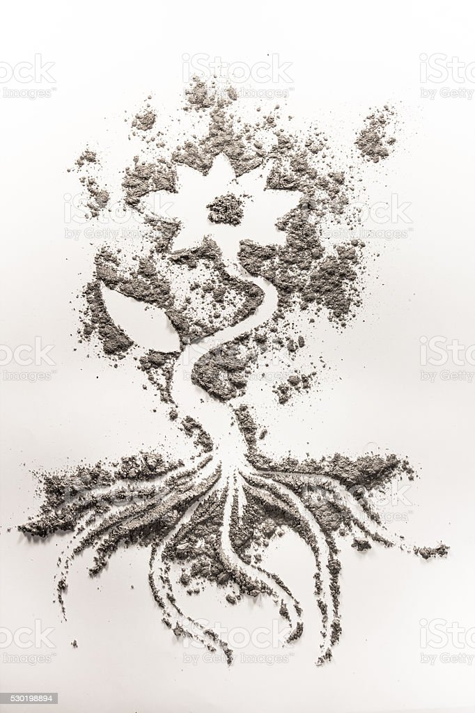 Flower drawing made in sand, ash, dust, dirt stock photo