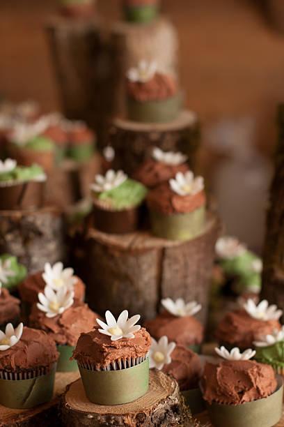 Flower Dressed Cupcakes stock photo