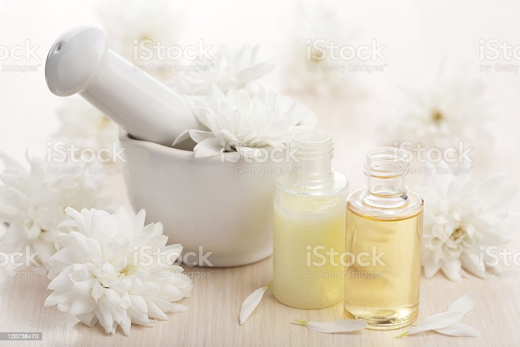 flower essential oil and mortar royalty-free stock photo