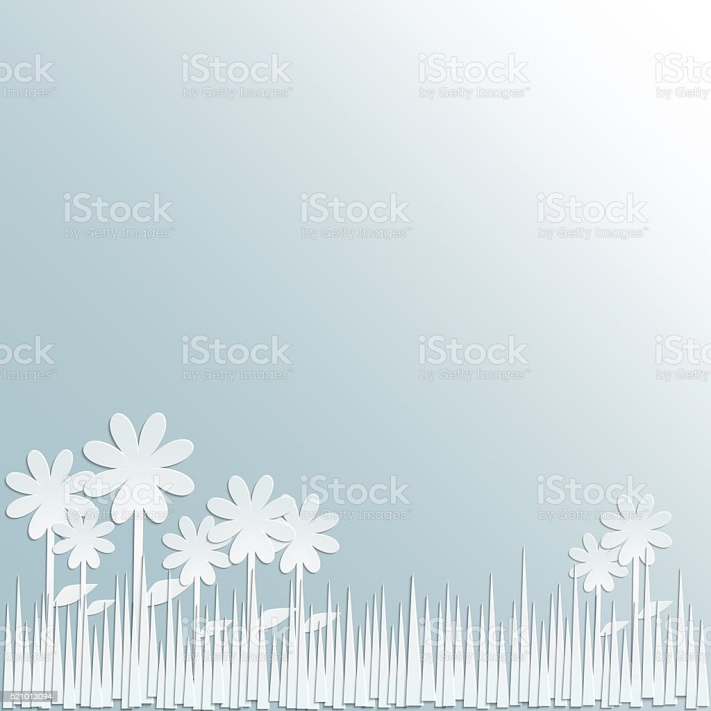 Flower field made from white paper stock photo