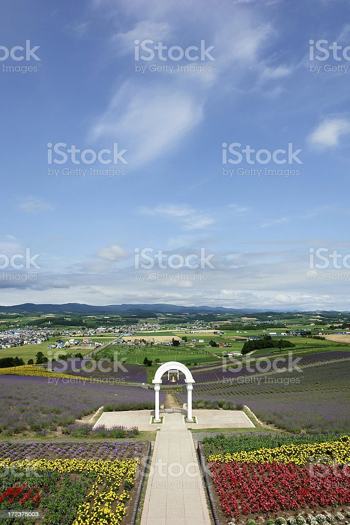 Flower Fields with Bell Arch royalty-free stock photo
