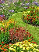 Large flower garden in summer