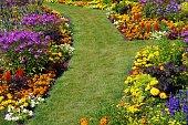 Flower garden with garden path