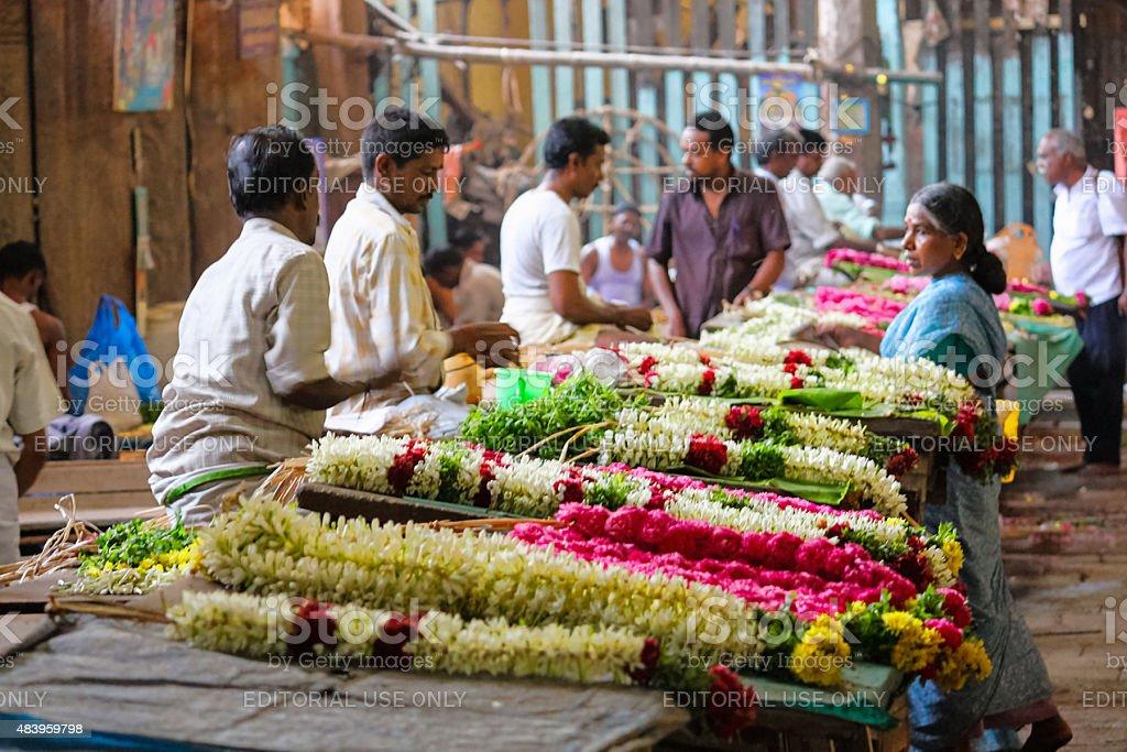 Flower Garland Makers and Vendors Meenakshi Amman Temple Madurai India stock photo