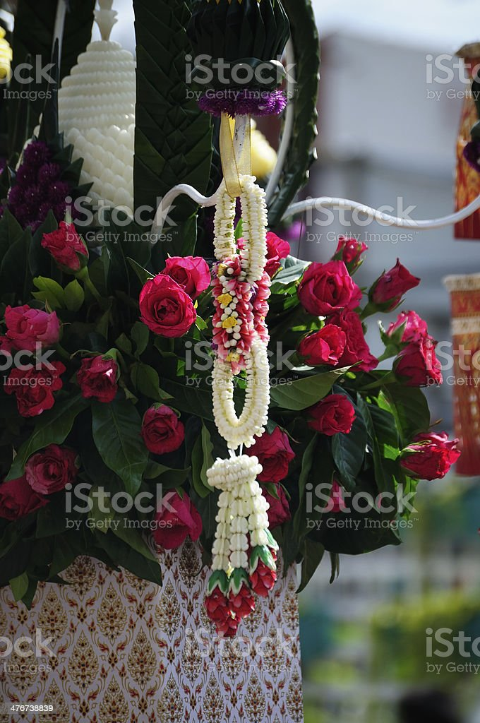 Flower garlands and red roses royalty-free stock photo