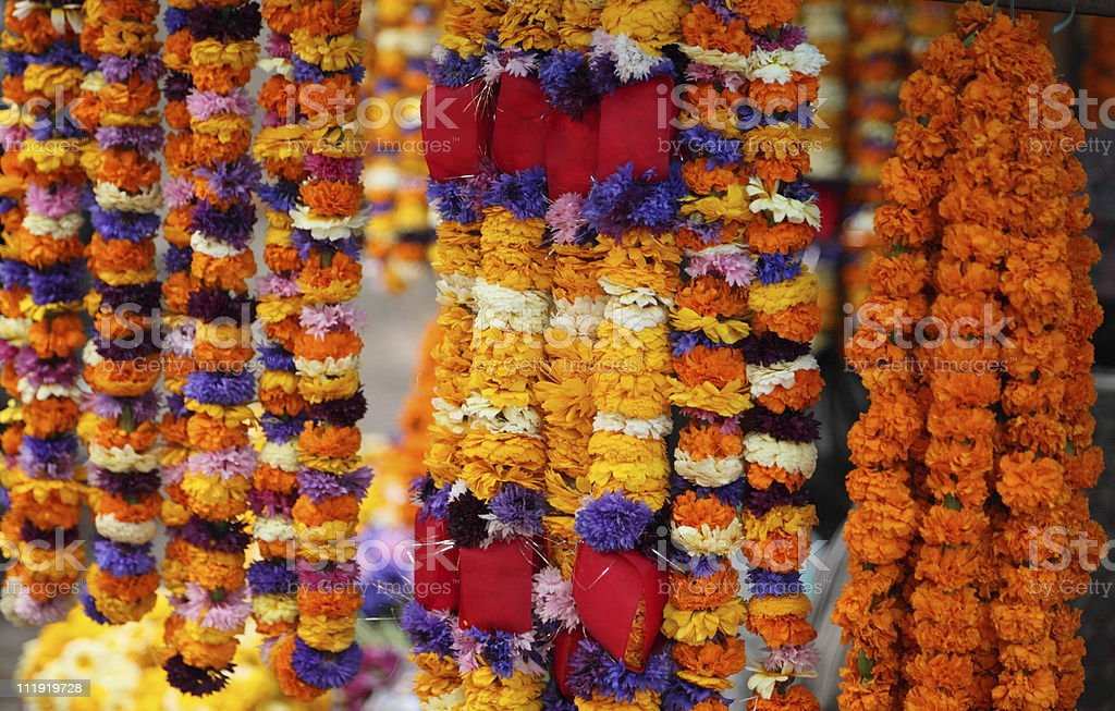 Flower Garlands Kathmandu Nepal royalty-free stock photo