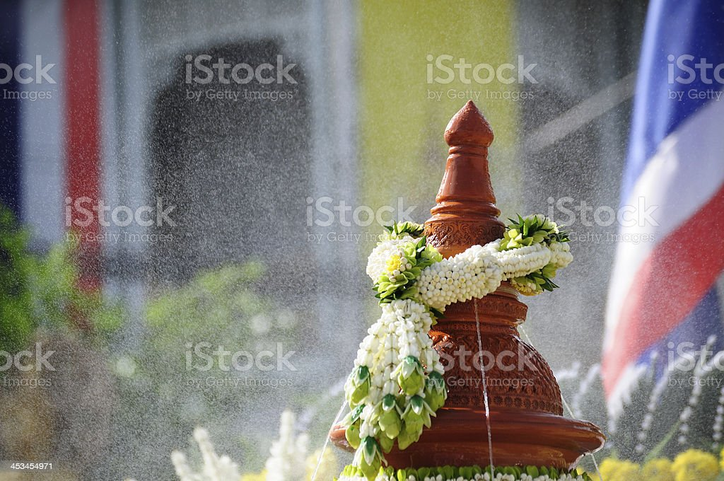 Flower garlands on earthenware royalty-free stock photo