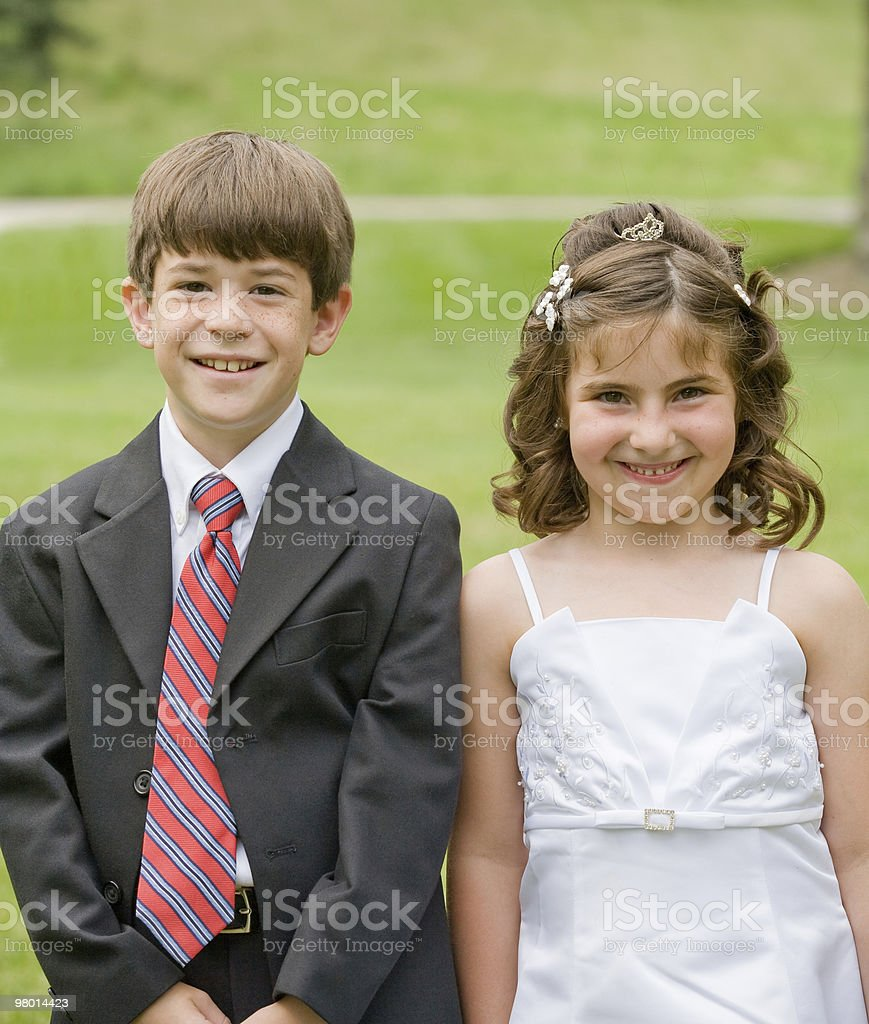 Flower Girl and Young Boy royalty-free stock photo