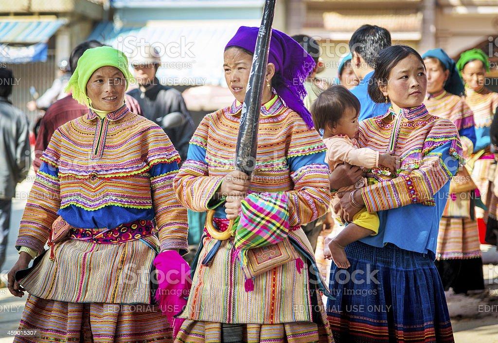 Flower Hmong Women at Market stock photo