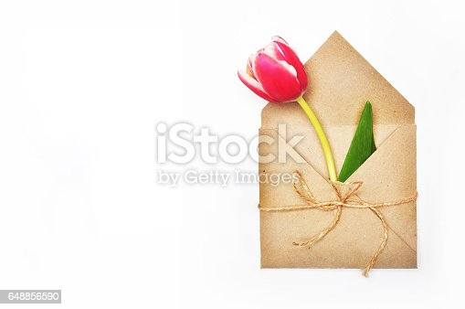 680461500 istock photo Flower in envelope on the white background. Tulip in craft envelope. Mail for you. Spring background. Gift for her. Flat lay. View table. 648856590