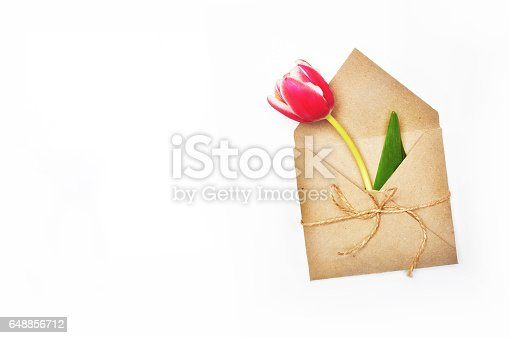 680461500 istock photo Flower in envelope on the white background. Tulip in craft envelope. Mail for you. Spring background. Gift for her. Flat lay. View table. 648856712