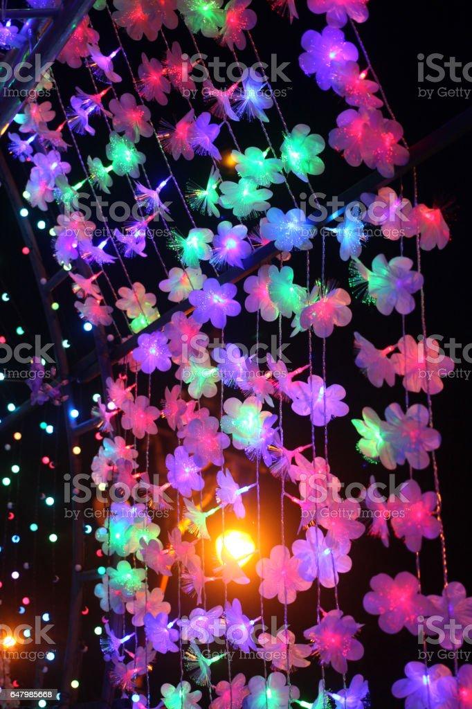 Flower light in the night. stock photo