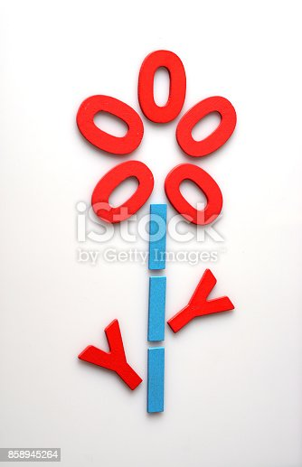 istock Flower made from English alphabet letters  are lined on white background with empty space. nature concept 858945264