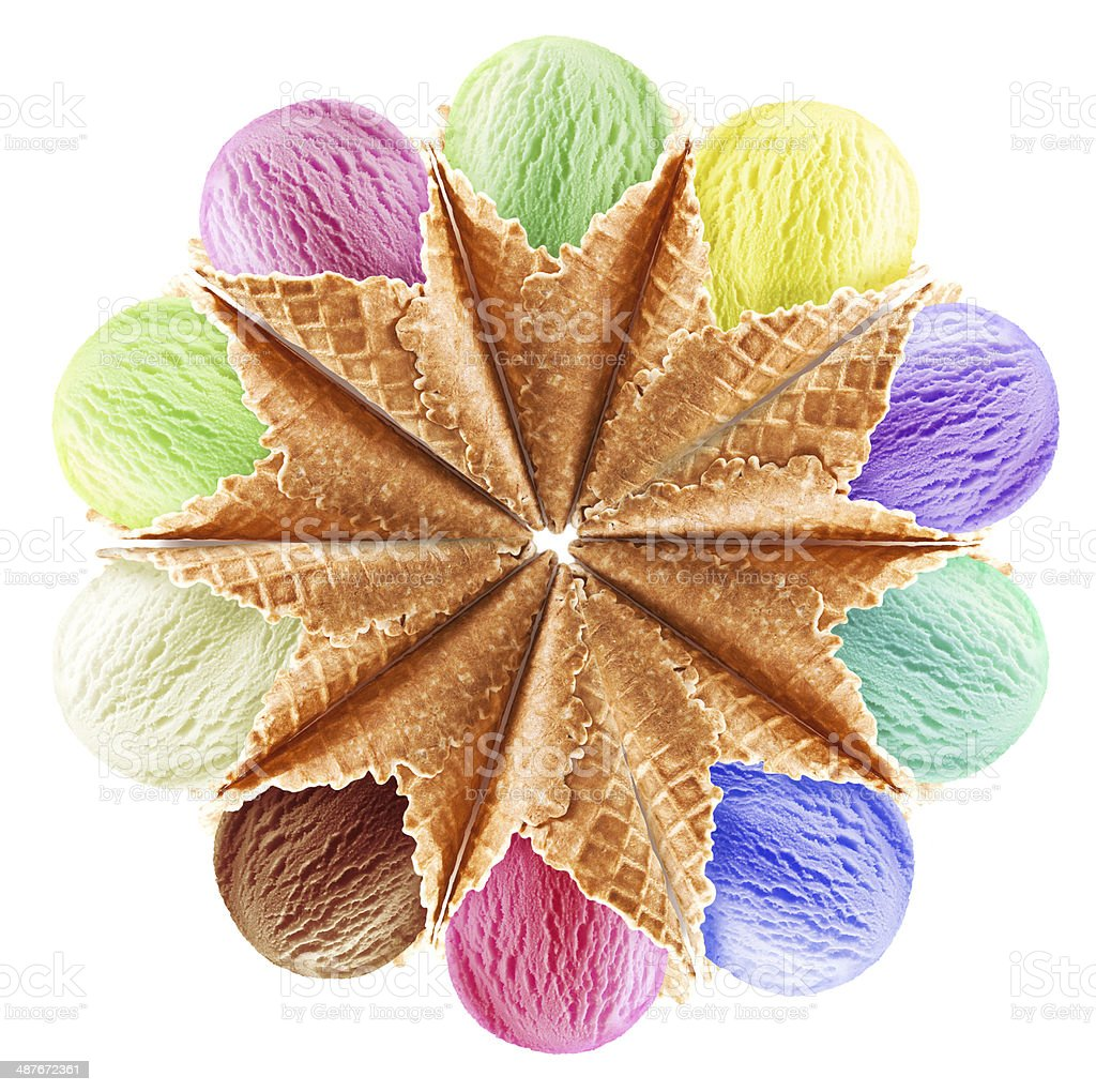 Flower made from ice cream cones. stock photo