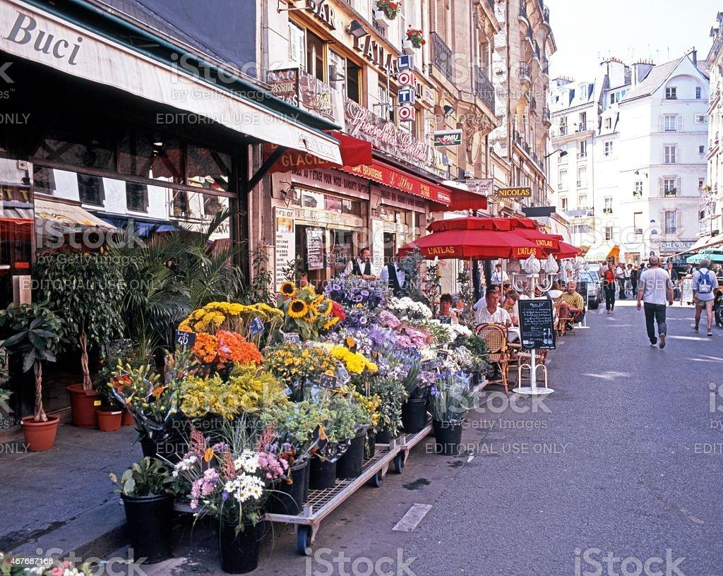 Flower market and cafes, Paris. stock photo