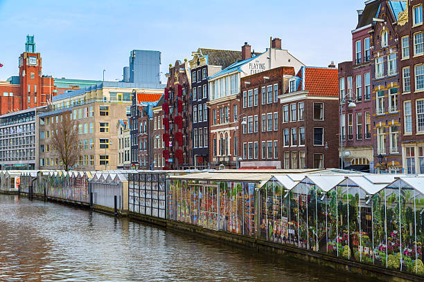Flower market, canal in Amsterdam, Holland stock photo
