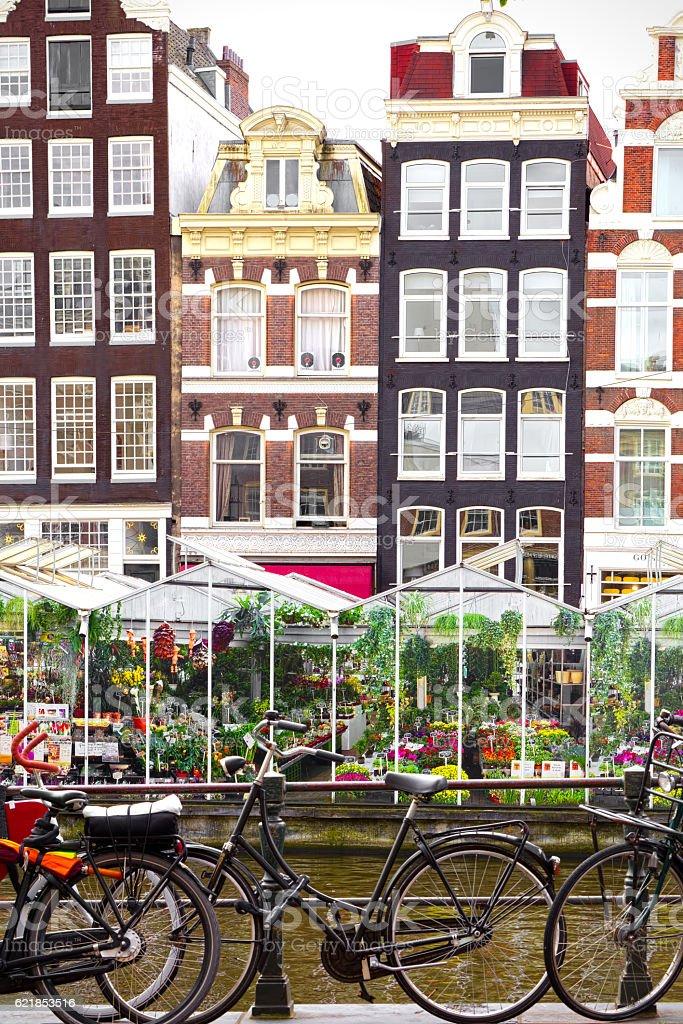 Flower market in Amsterdam (Bloemenmarkt) and bicycles stock photo