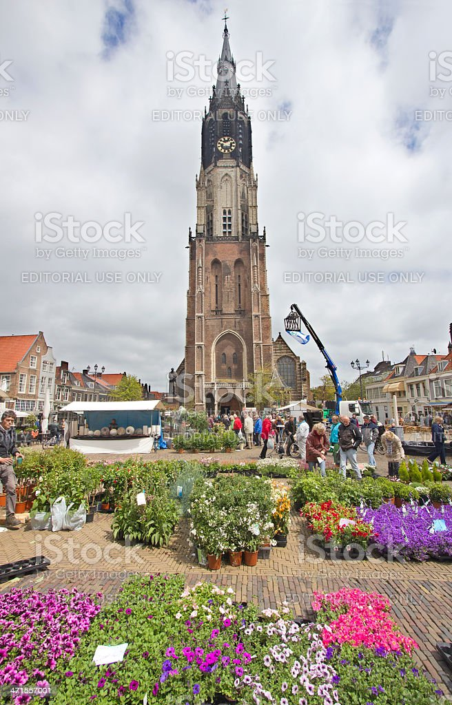 Flower Market in Delft, Holland royalty-free stock photo
