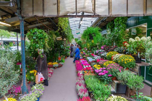 flower market in Paris stock photo