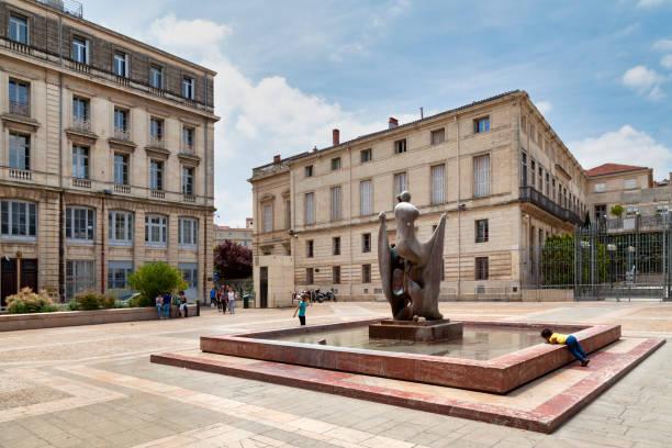 Flower market square in Montpellier stock photo