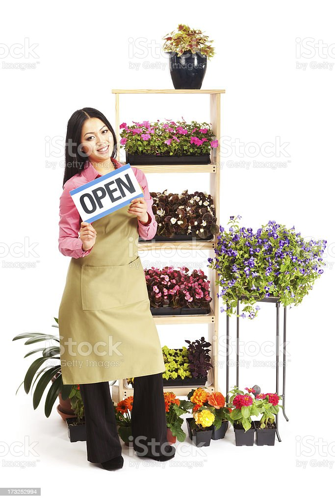 Flower Nursery Garden Center with Open Sign on White Background royalty-free stock photo