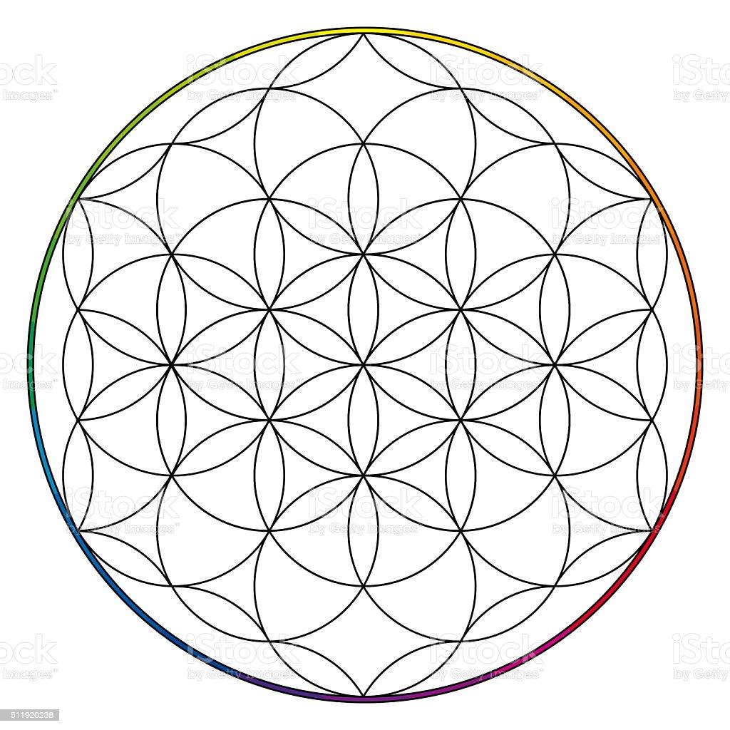 Flower of life, buddhism chakra illustration stock photo