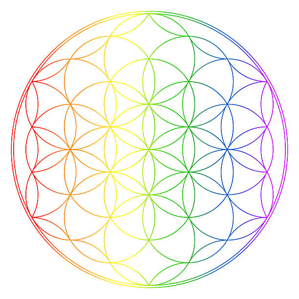 Flower of life, buddhism chakra illustration stock photo