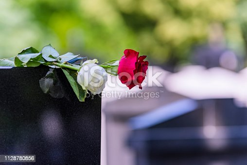 istock Flower On A Grave In A Cemetery 1128780856