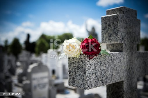 Rose on tombstone. Red and White  roses on grave. Love - loss. Flower on memorial stone close up. Tragedy and sorrow for the loss of a loved one. Memory. Gravestone with withered rose