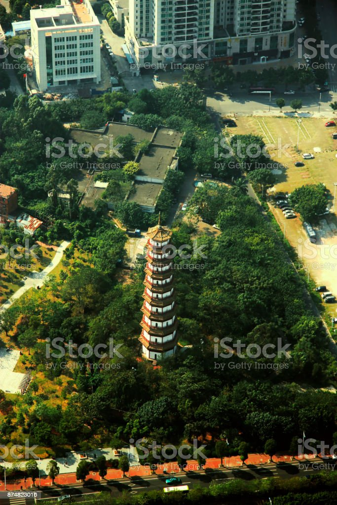 Flower Pagoda of temple of Six Banyan Trees stock photo