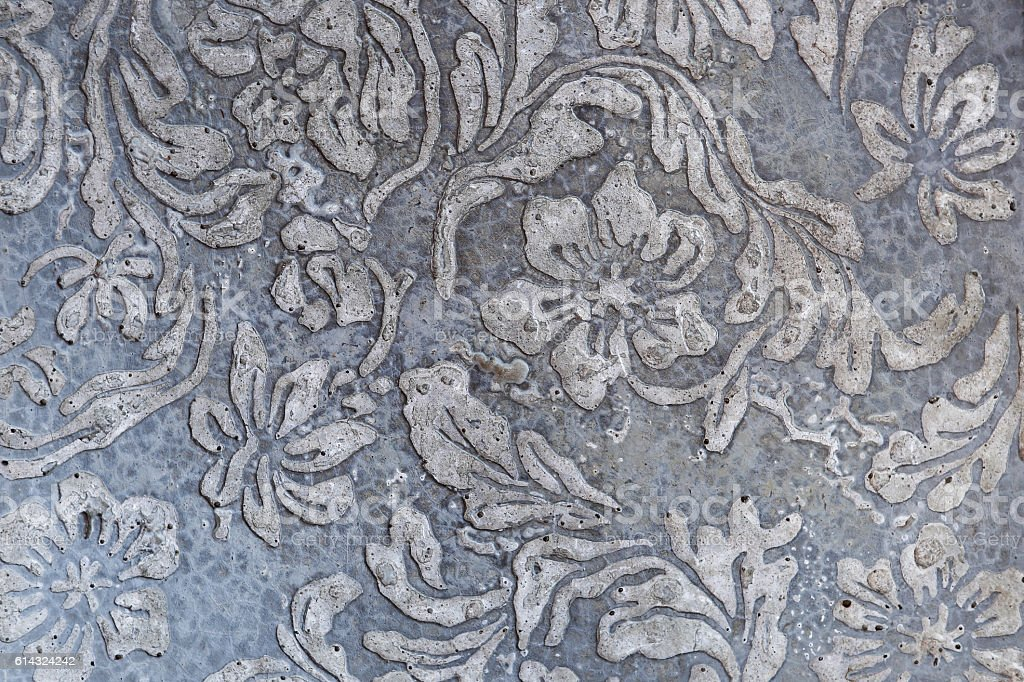 Cement Wall Flower Design / Retro Hand Painted Flowers And ...