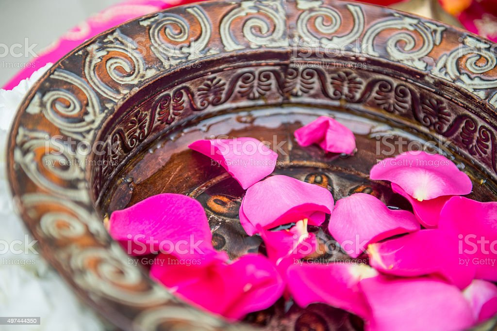 Flower Petals in an Ornate Bowl stock photo
