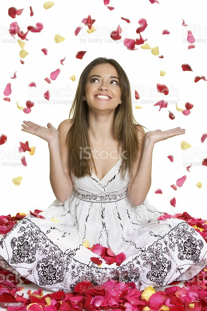 Flower petals woman royalty-free stock photo