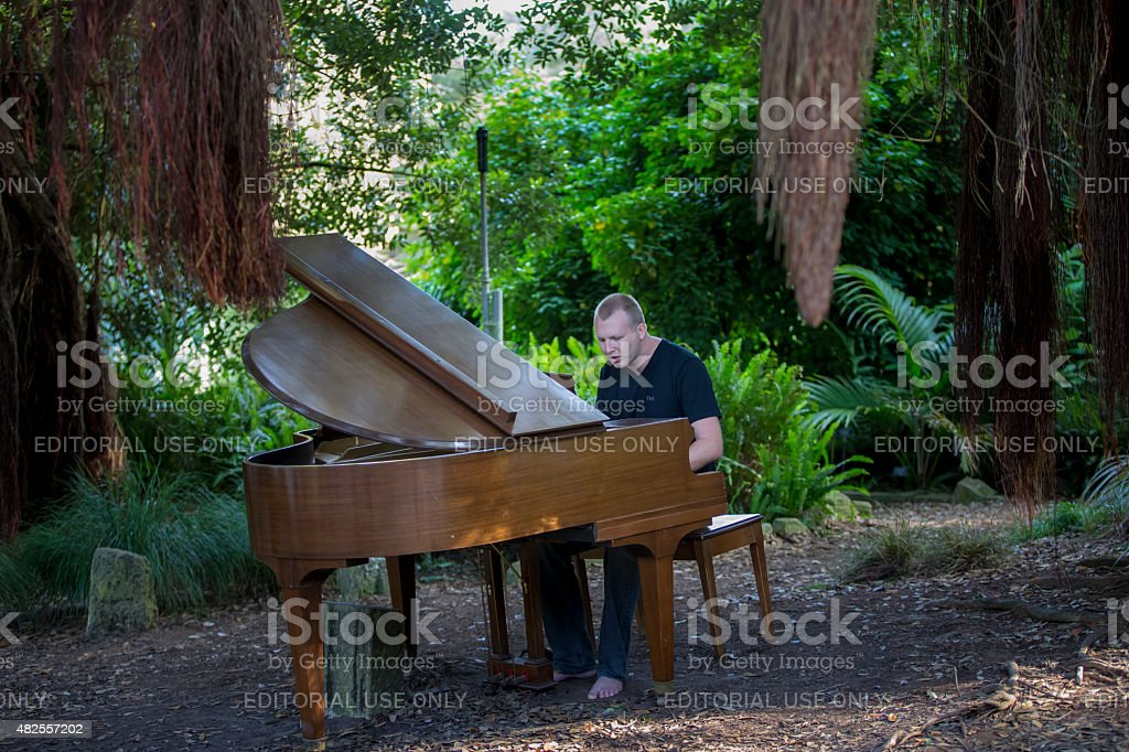 Flower Piano Event in Golden Gate Park, San Francisco stock photo