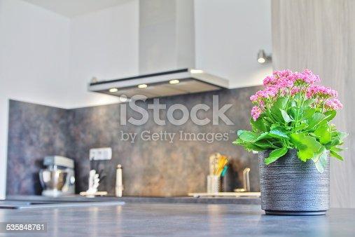 Selective focus of pink Kalanchoe blossfeldiana (kalanchoe de madagascar) flower plant in grey textured pot in modern kitchen with range hood, extractor fan blurred in background.