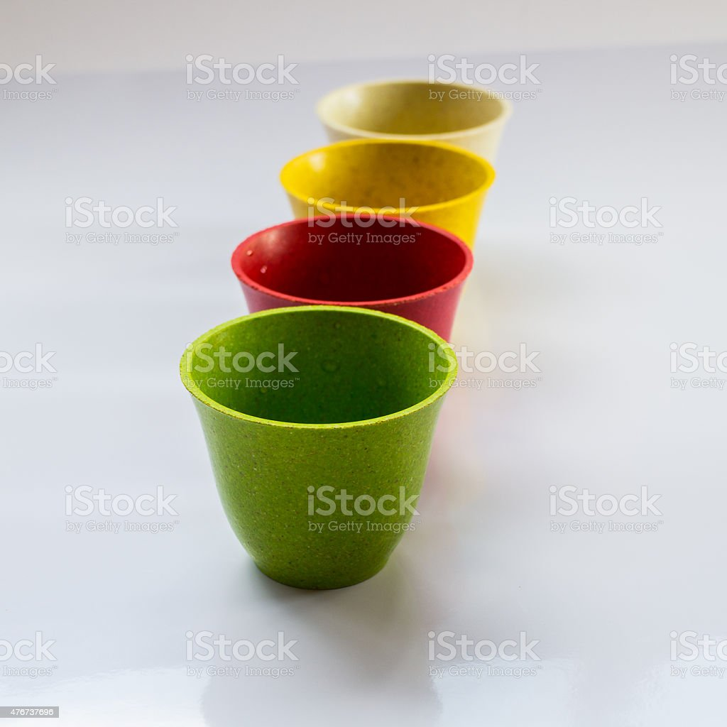 flower pots made from bamboo fiber stock photo