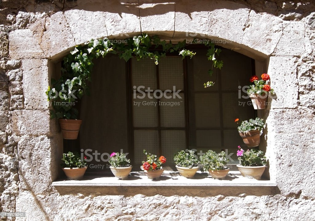 Flower pots Valldemossa wall stock photo