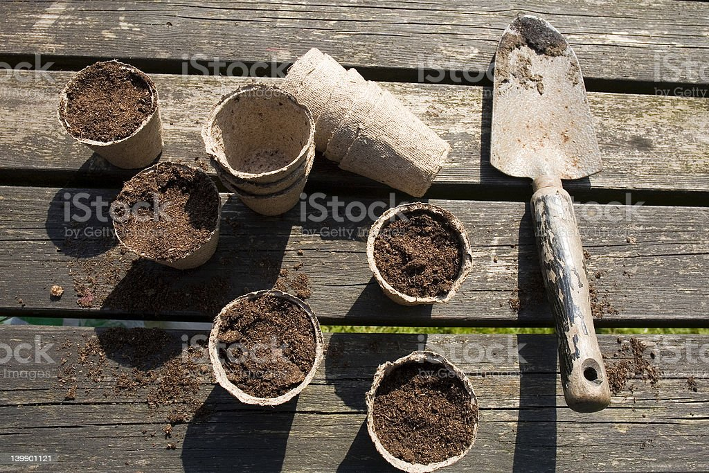 flower pots with compost royalty-free stock photo