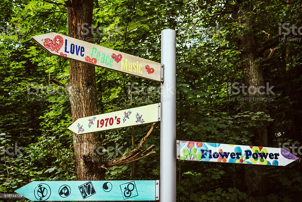 flower power signpost stock photo