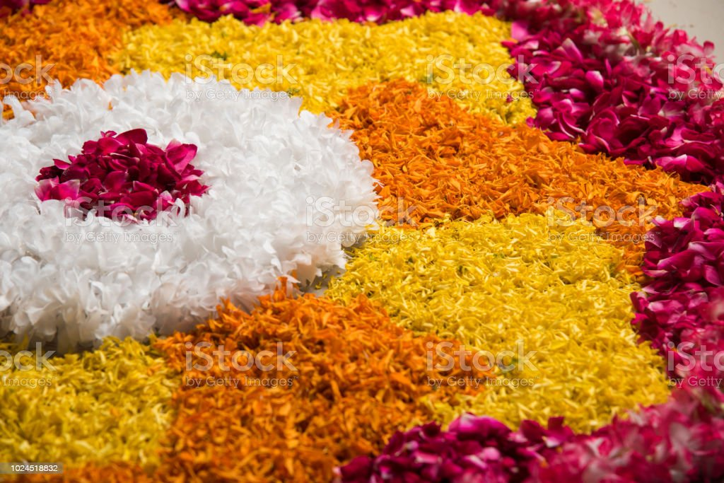 Flower Rangoli For Diwali Or Pongal Or Any Hindu Festival Using Marigold Or Zendu Flowers And Red Rose Petals Selective Focus Stock Photo Download Image Now Istock