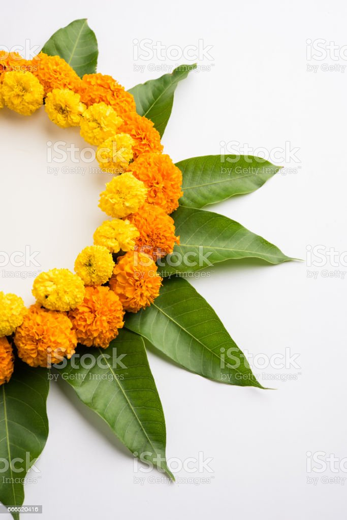 Flower Rangoli Made Using Marigold Or Zendu Flowerango Leaves Over Black Background With Copy