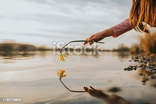 Girl hand hold flower with reflection on water