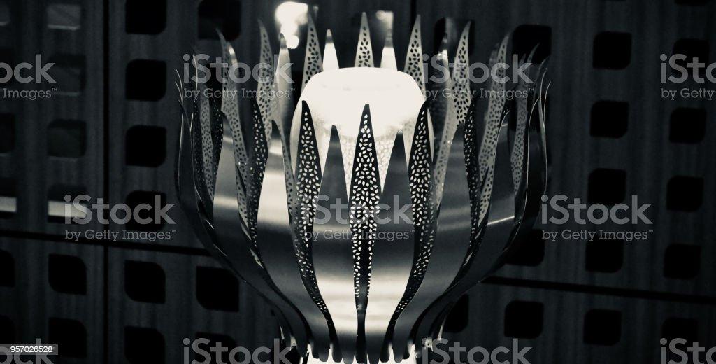 Flower shape stylish lamp shade object unique photo stock photo