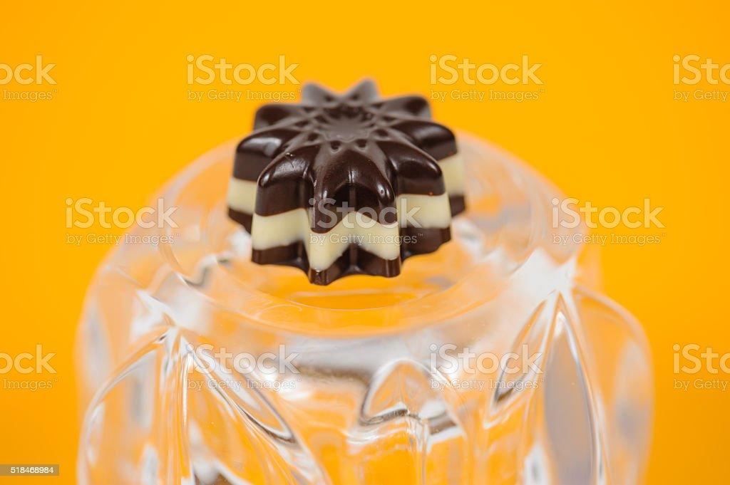 Flower shaped chocolate sweet stock photo