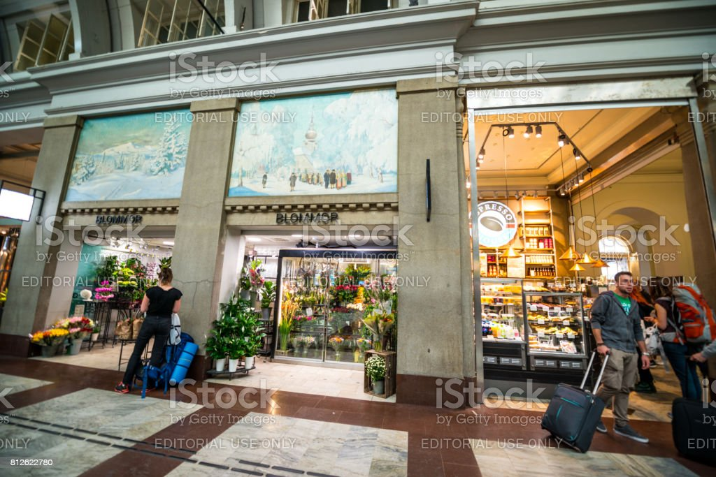 Flower Shop And Coffee Shop At Stockholm Central Station