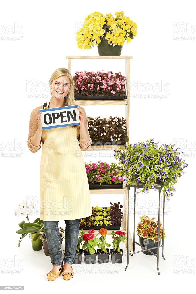 Flower Shop Garden Center Small Business Owner on White Background royalty-free stock photo