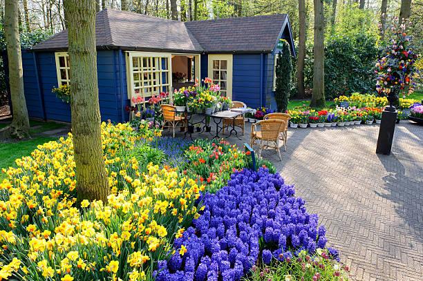 Flower shop in Keukenhof Gardens, Netherlands stock photo