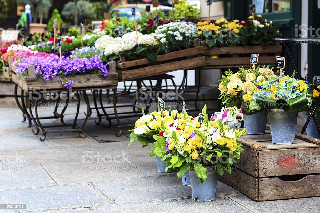 Outside part of a flower shop in Paris