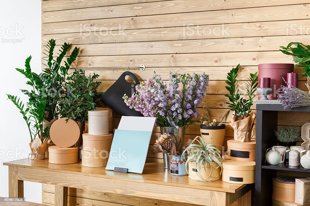 Flower Shop Interior Small Business Of Floral Design Studio Stock